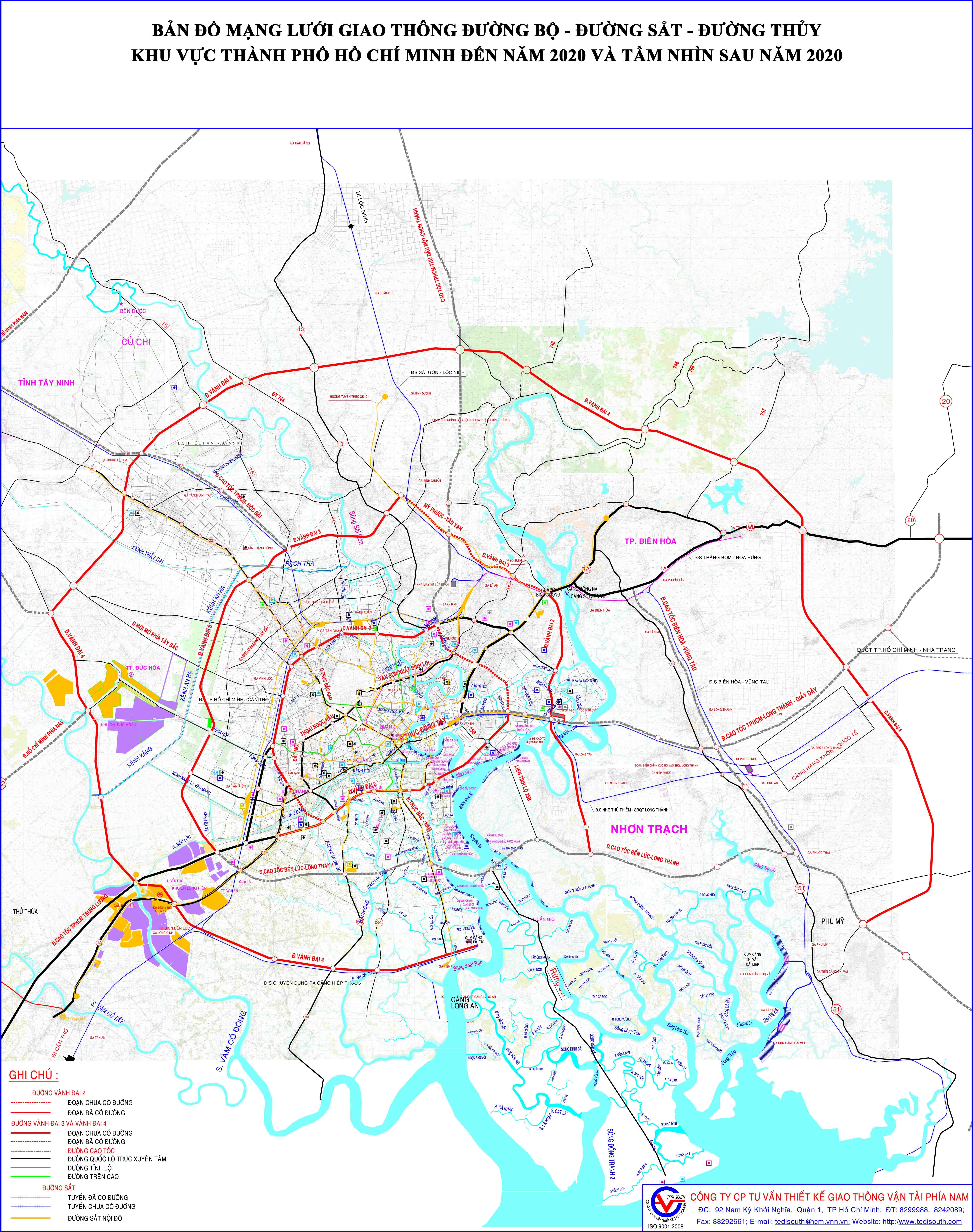 Bản đồ mạng lưới giai thông đường bộ - đường sắt - đường thuỷ khu vực TPHCM đến năm 2020 và tầm nhìn sau 2020