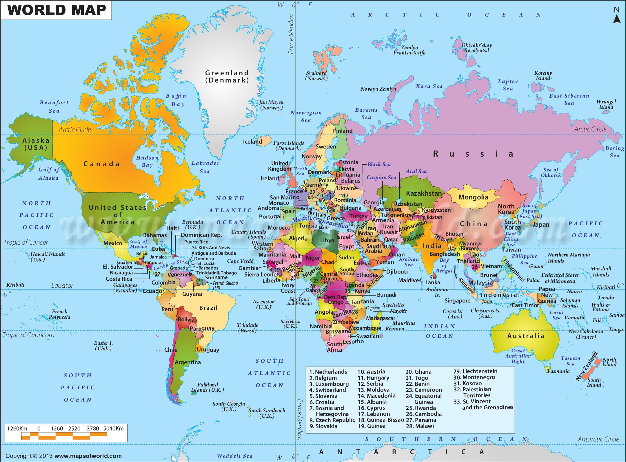 Bản đồ các nước trên thế giới năm 2021