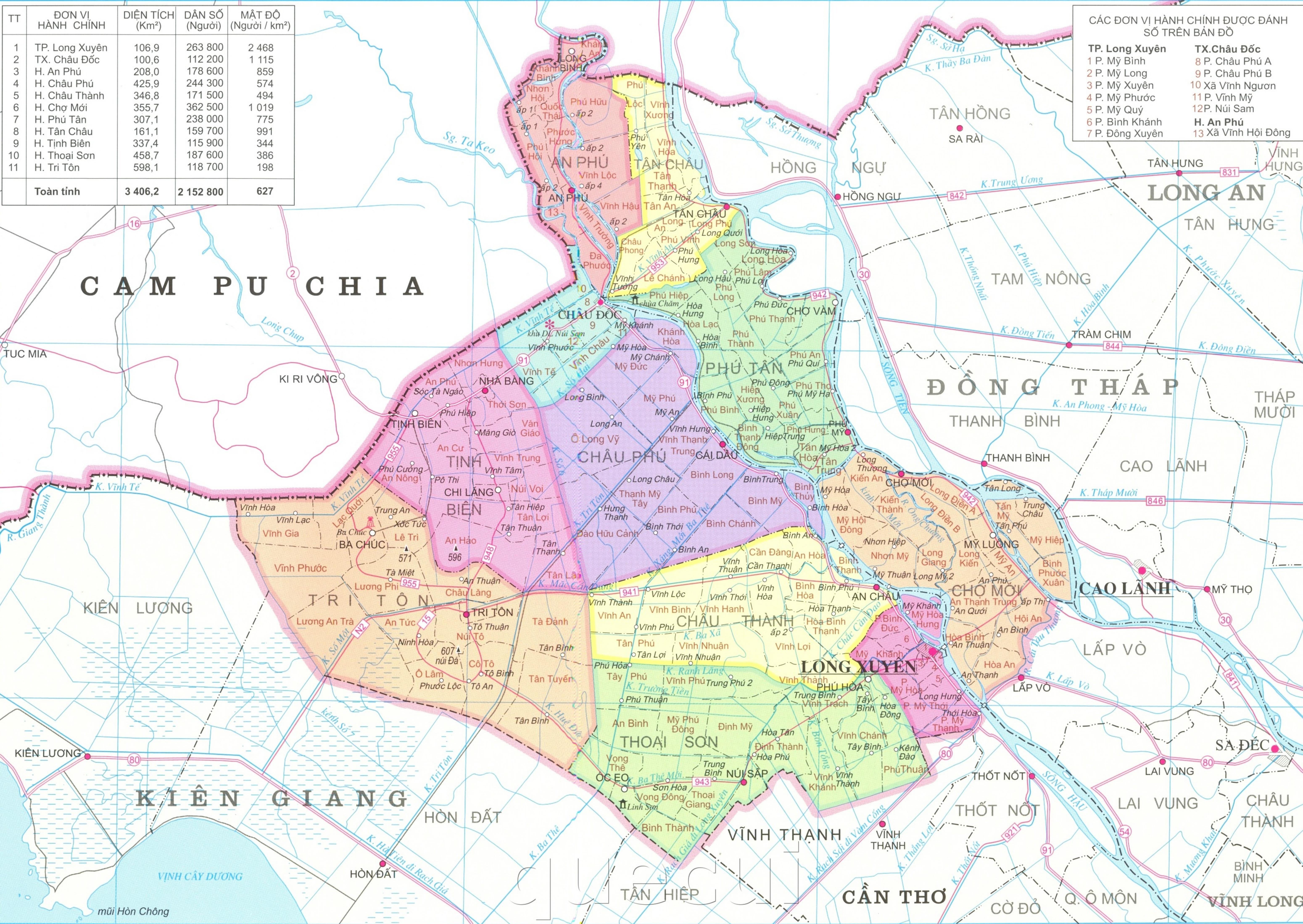 Bản đồ hành chính tỉnh An Giang khổ lớn